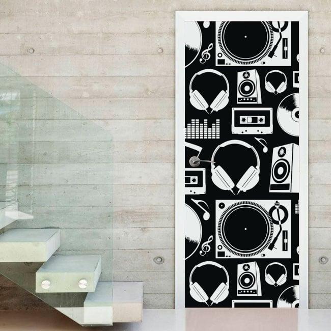 Decorative vinyl music decorating doors and cupboards