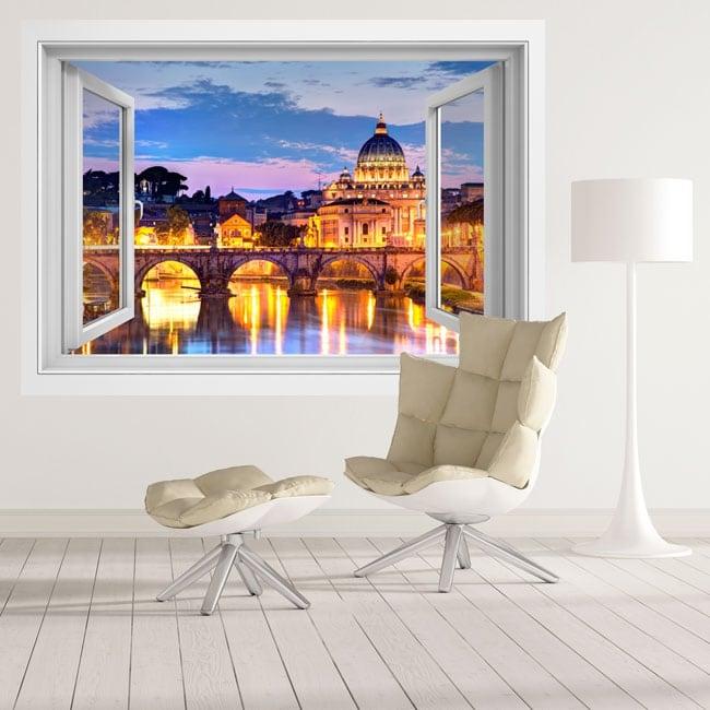 Vinyl windows tiber river and vatican italy 3d