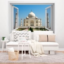 Decorative vinyl window taj mahal 3d