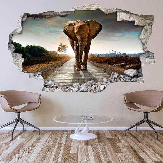 Decorative vinyl for walls elephant 3d