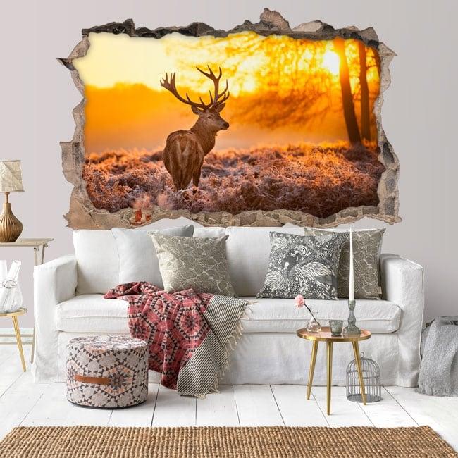 Vinyl hole wall 3d deer and sunset