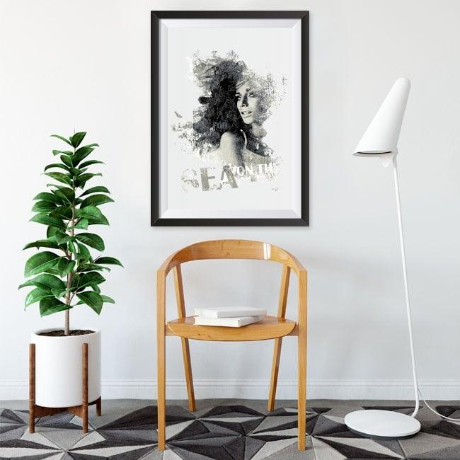 Decorative vinyl silhouette woman box effect 3d