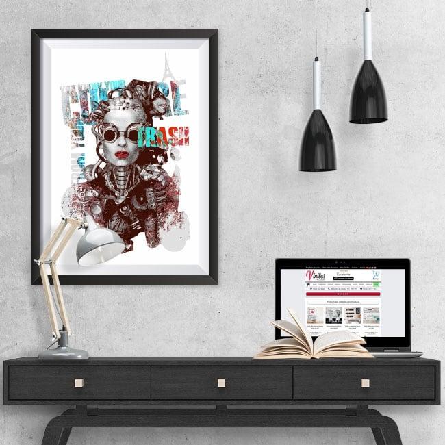 Vinyl woman silhouette picture effect 3d