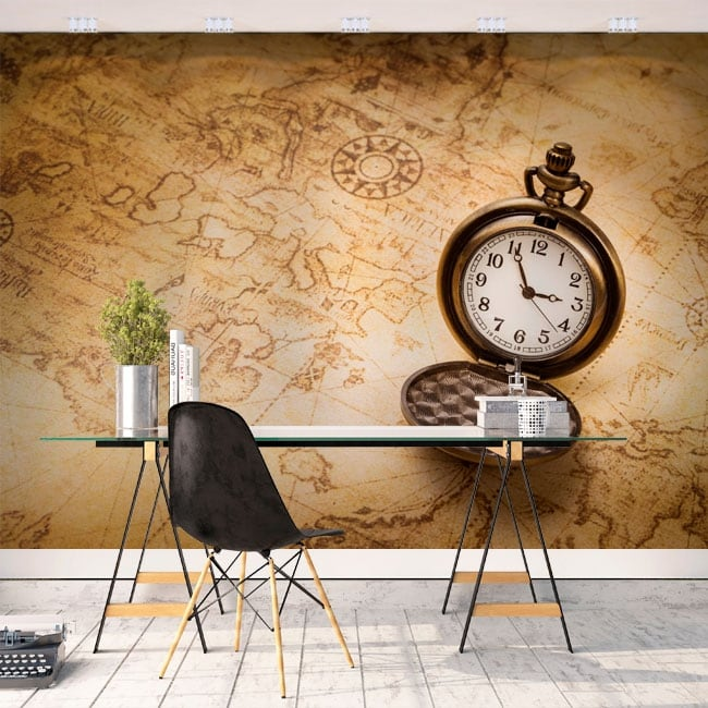 Wall murals of vinyl vintage map and watch