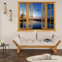 Wall stickers sunset in kinderdijk holland 3d