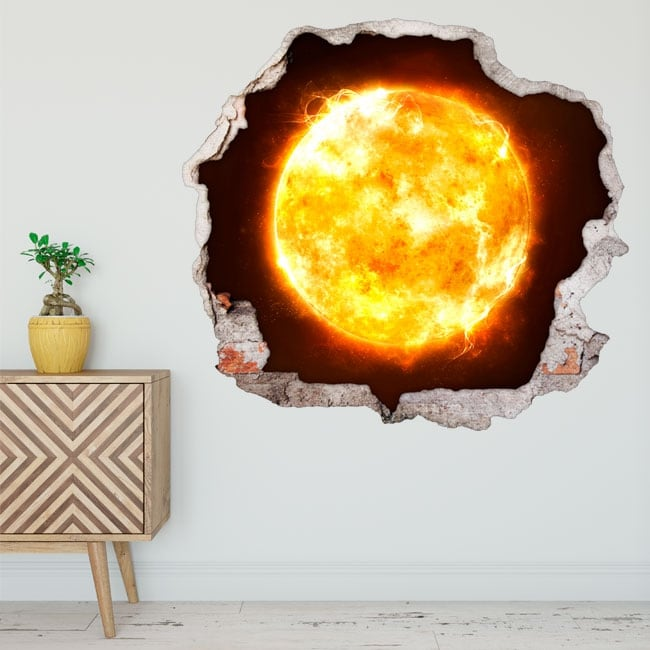 Decorative vinyl sun 3d wall hole