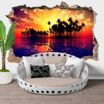 Vinyl hole wall sunset at sea 3d