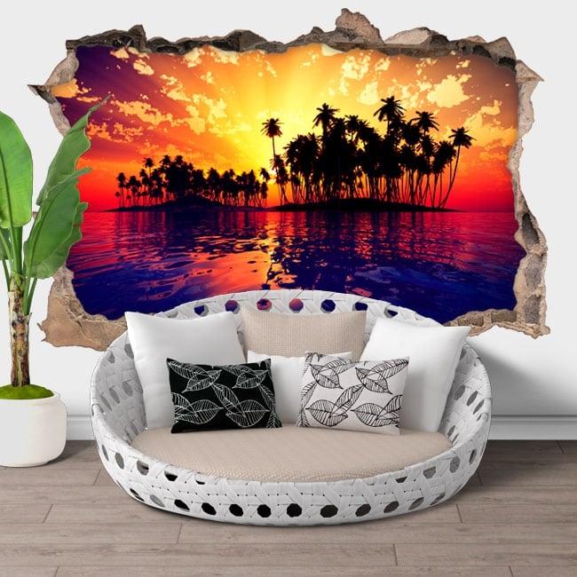 Vinyl hole wall sunset at sea 3d