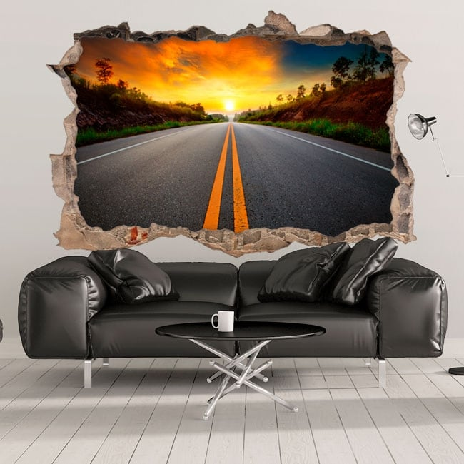 Decorative vinyl 3d sunset on the road