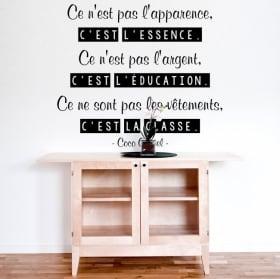 Decorative vinyl coco chanel french phrase