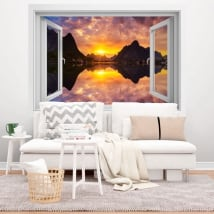Vinyl windows sunset in norwegian fjord 3d
