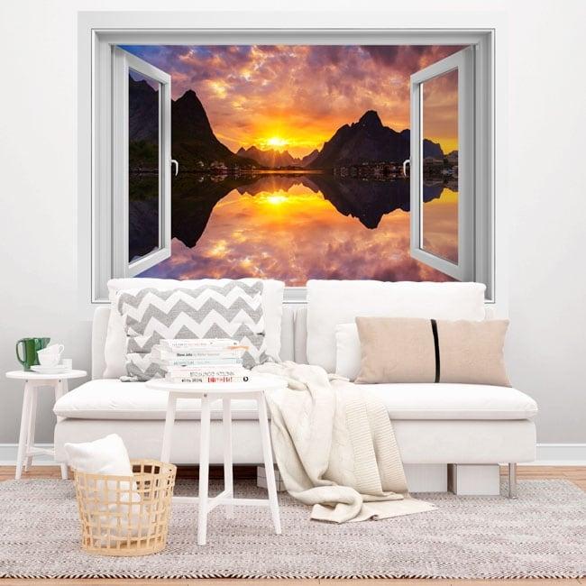 Vinyl windows sunset in norwegian fjord 3d