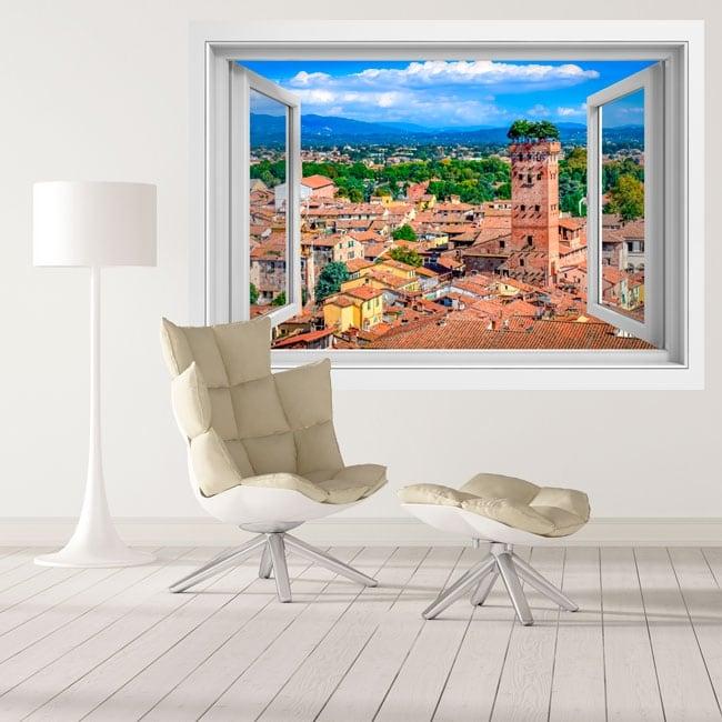 Vinyl tower guinigi city of lucca tuscany italy 3d