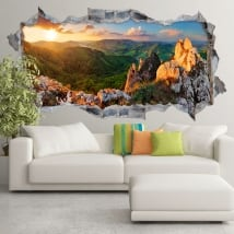 Sticker sunset on rocky mountain slovakia 3d