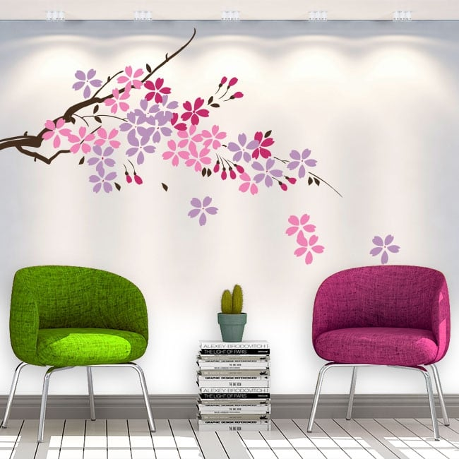 Decorative vinyl tree branch with flowers and leaves