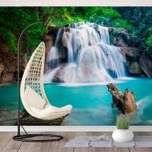 Wall murals waterfalls huay mae kamin thailand