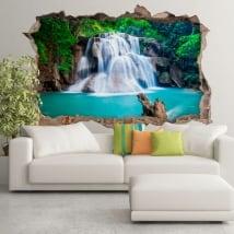 Vinyl 3d waterfalls huay mae kamin thailand