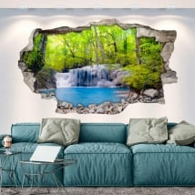 Stickers 3d wall hole waterfalls in the forest