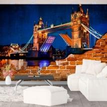 Photo murals vinyl broken wall london tower bridge