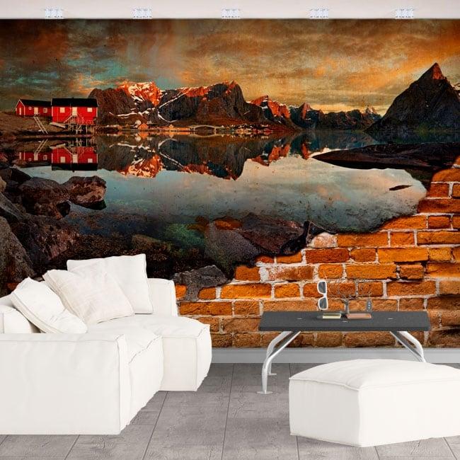 Photo murals reine norway broken wall effect