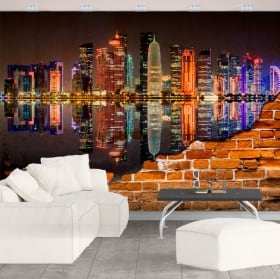 Vinyl murals city of doha qatar broken wall effect