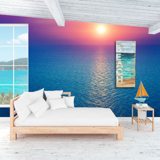 Vinyl murals sunset in the ocean