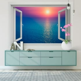 Vinyl walls sunset in the ocean 3d