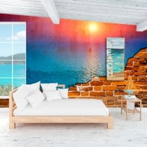 Photo murals sunset in the ocean broken wall effect