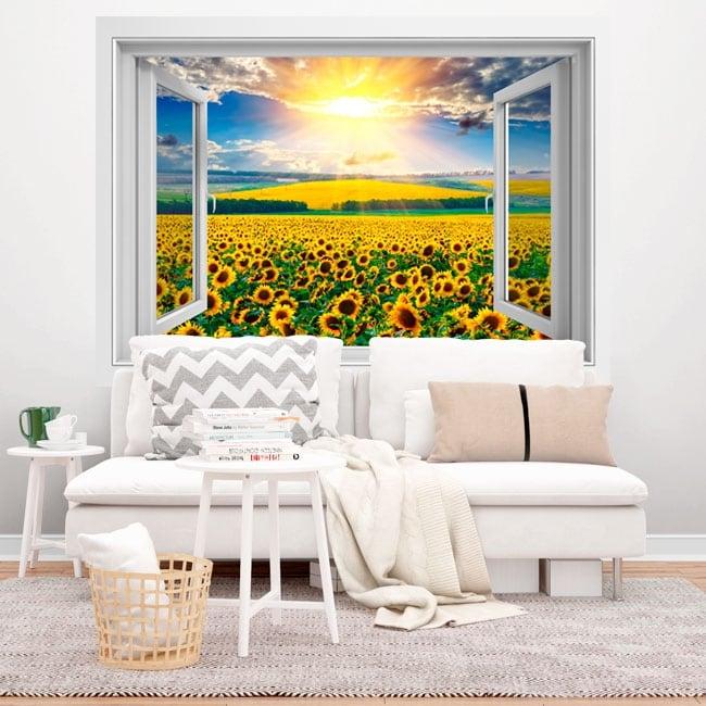 Vinyl windows sunset field of sunflowers 3d