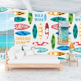 Vinyl murals to decorate walls and objects surfing