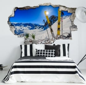 Wall murals sunset in the snowy mountains 3d