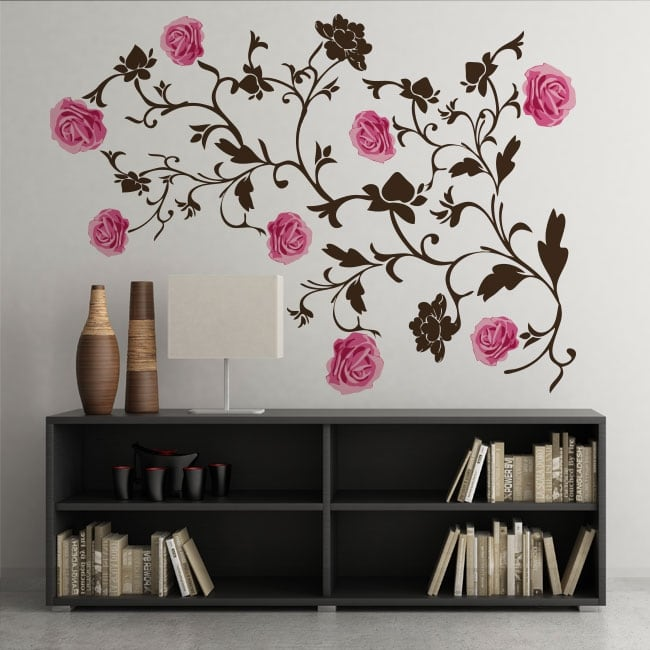 Vinyl roses decoration walls and objects