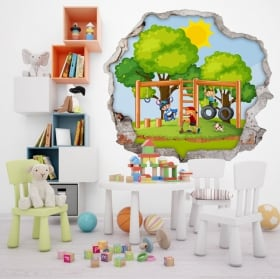 Children's stickers 3d wall hole