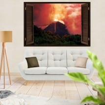 Vinyl and window stickers 3d volcano eruption