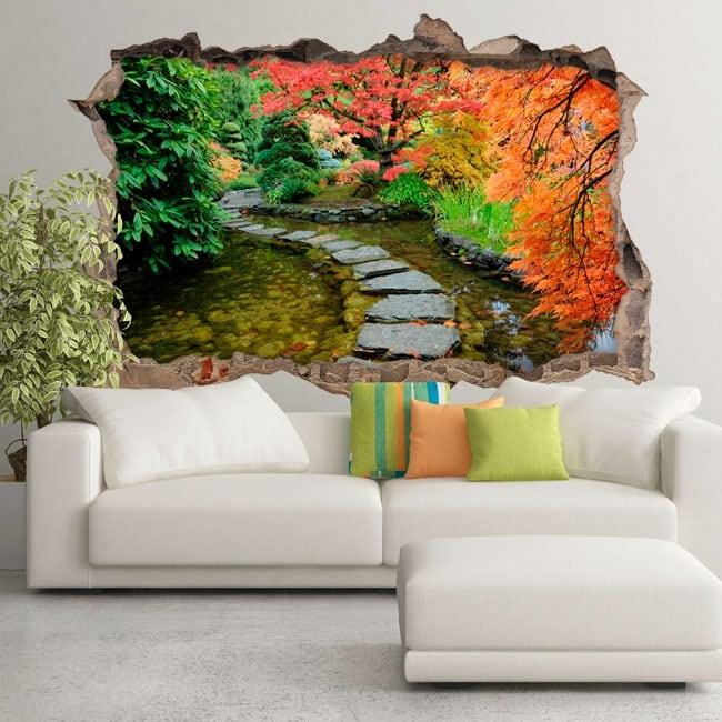 Decorative vinyl garden japanese hole wall 3d