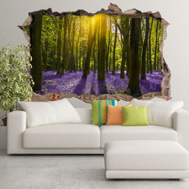 Stickers 3d bluebells flowers in the forest