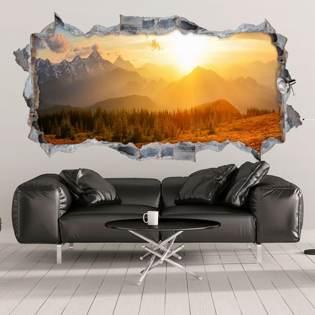 Decorative vinyl 3d sunset in the mountains