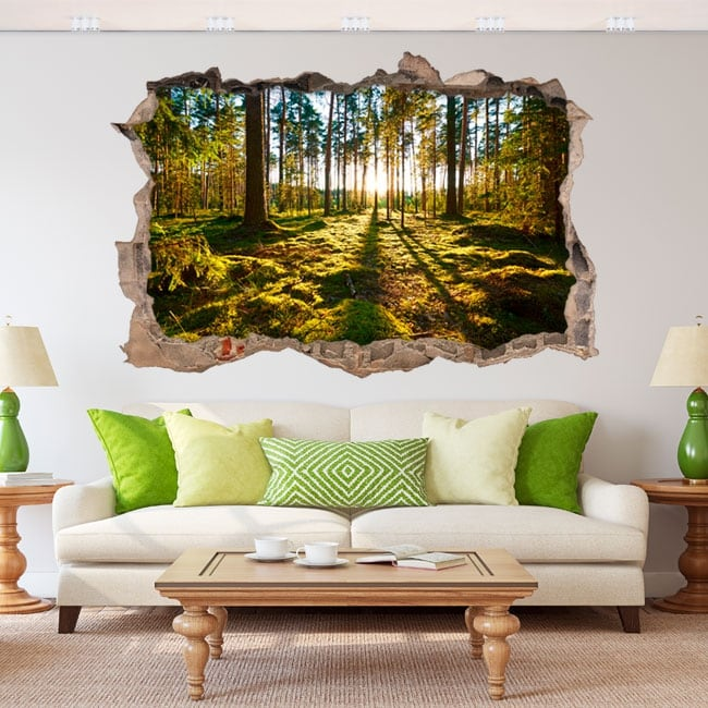 Decorative vinyl 3d sunset in the forest