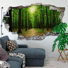 Vinyl trees in the forest hole wall 3d