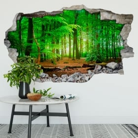 Vinyl walls trees in the forest 3d