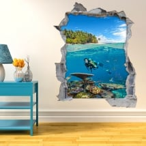Decorative vinyl 3d diver under the sea