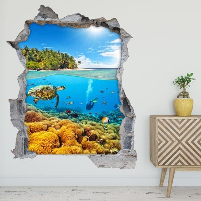 Decorative 3d vinyl diving in the sea
