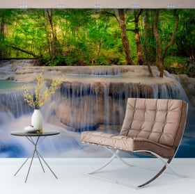 Wall murals of vinyl waterfalls in the forest