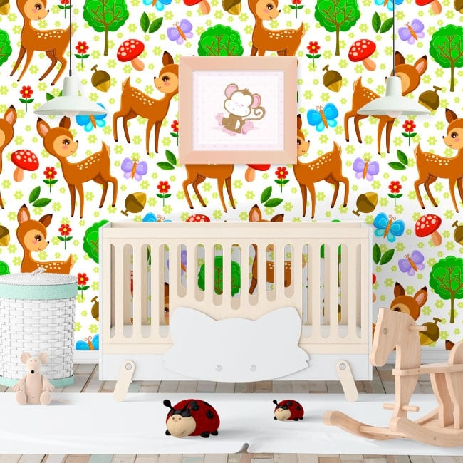 Wall murals of children's vinyl bambi