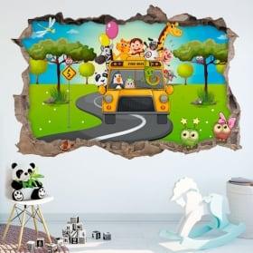 Vinyl 3d children bus zoo animals