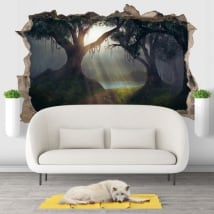 Decorative vinyl 3d illustration trees magical forest