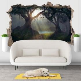 Decorative vinyl 3d illustration trees magical forest