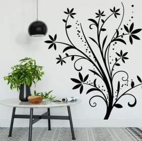 Stickers decorate walls with flowers