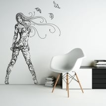 Decorative vinyl and stickers silhouette woman with birds