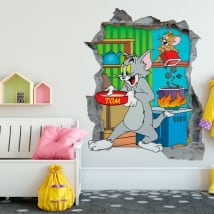 Decorative vinyl 3d cat and mouse tom and jerry